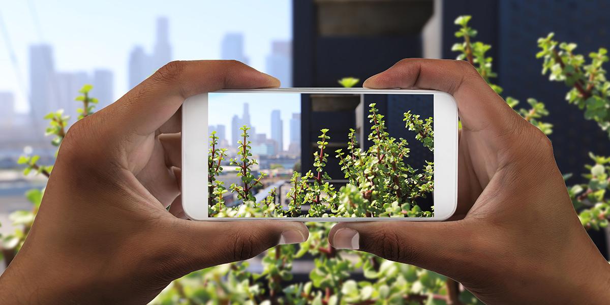 Man holding phone camera